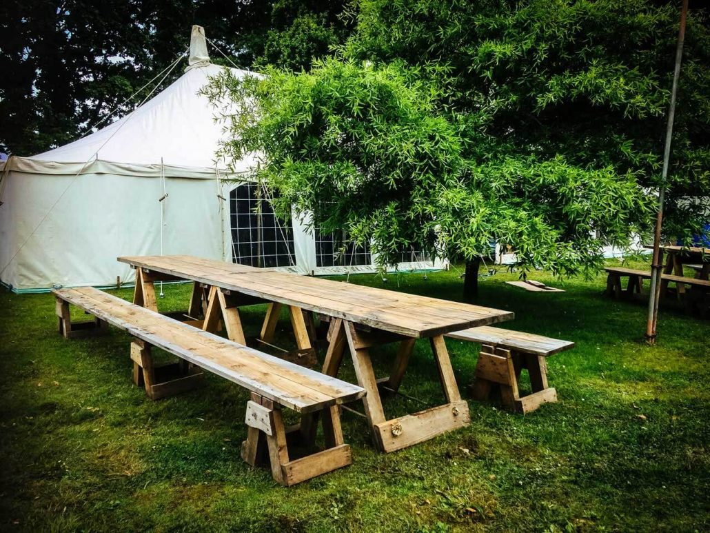 Jo sawmills has supplied trestle tables for the fabulous bohemian port eliot festival in st germans cornwall for the past couple of years